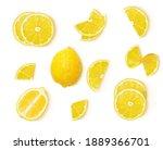 a set of whole lemon  lemon... | Shutterstock .eps vector #1889366701