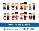 europeans in national clothes.... | Shutterstock .eps vector #1889415391