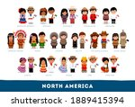 americans in national clothes.... | Shutterstock .eps vector #1889415394