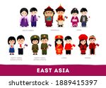 asians in national clothes.... | Shutterstock .eps vector #1889415397