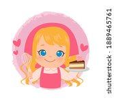 cute girl baking a chocolate... | Shutterstock .eps vector #1889465761