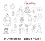 wedding elements. vector... | Shutterstock .eps vector #1889574364