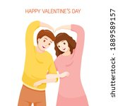 couple showing heart shaped... | Shutterstock .eps vector #1889589157