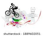 active young man doing tricks...   Shutterstock .eps vector #1889602051