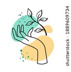 female hand with plant on... | Shutterstock .eps vector #1889609734