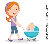 mother with baby in stroller.... | Shutterstock .eps vector #188970395