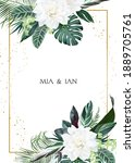 white gardenia  hibiscus  green ... | Shutterstock .eps vector #1889705761