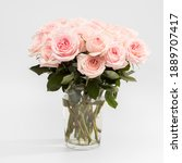 Small photo of Rose White Pink O'hara. Rose White Pink O'hara. Bouquet of pink roses are in a glass vase. Copy space