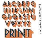 retro vector font. vintage...   Shutterstock .eps vector #188974394