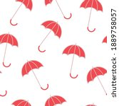 Red Umbrellas On White...