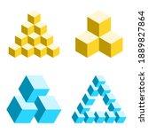 impossible shapes set. penrose... | Shutterstock .eps vector #1889827864