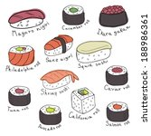 set of sushi and rolls  vector... | Shutterstock .eps vector #188986361