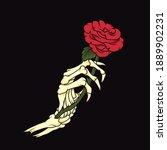 Skeleton Hand Holding Rose....