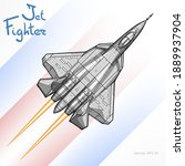 the newest russian jet fighter...   Shutterstock .eps vector #1889937904