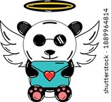 kawaii panda holding valentine... | Shutterstock .eps vector #1889964814