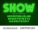 neon light 3d alphabet  extra... | Shutterstock .eps vector #1889985184