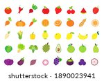 fruits and vegetables flat icon ... | Shutterstock .eps vector #1890023941