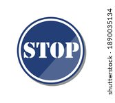 blue stop sign on white...