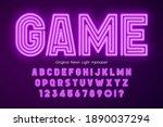 neon light 3d alphabet  extra... | Shutterstock .eps vector #1890037294