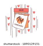 calendar for valentine's day.... | Shutterstock .eps vector #1890129151
