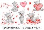 Set With Cute Grey Teddy Bears  ...