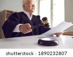 Small photo of Stern judge with paper document pronouncing sentence in a court of law. Judge finds the accused guilty, passes judgement and rules case closed. Hand holding gavel and hitting sound block in close-up