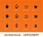 coffee mug icons on orange...