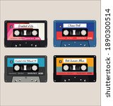 old colorful  audio cassettes... | Shutterstock . vector #1890300514