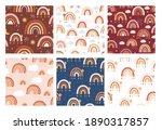 rainbow seamless pattern set....   Shutterstock .eps vector #1890317857