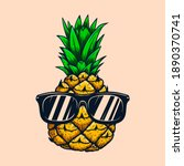 illustration of pineapple with...   Shutterstock . vector #1890370741
