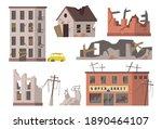 abandoned houses set. old... | Shutterstock .eps vector #1890464107