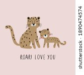 vector card with cute leopard.... | Shutterstock .eps vector #1890474574