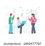 flat design team work concept...   Shutterstock .eps vector #1890477787