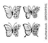 set of line art butterflies ... | Shutterstock .eps vector #1890549541