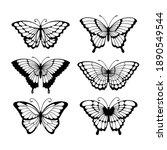 set of line art butterflies ... | Shutterstock .eps vector #1890549544