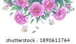 horizontal border with blooming ... | Shutterstock .eps vector #1890611764