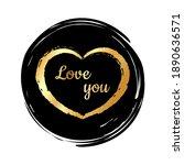 golden heart on a black... | Shutterstock .eps vector #1890636571