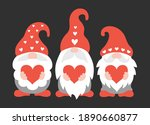 valentine gnomes holding hearts.... | Shutterstock .eps vector #1890660877