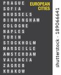 name of european cities on... | Shutterstock .eps vector #189066641