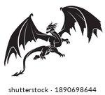 dragon design silhouette  full... | Shutterstock .eps vector #1890698644