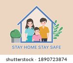 family people stay at home with ... | Shutterstock .eps vector #1890723874