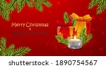 red banner with santa claus ... | Shutterstock .eps vector #1890754567