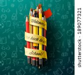 colorful pencil crayons with... | Shutterstock .eps vector #189077321