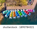Above View Of Colored Boats...