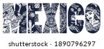 mexico slogan. skeleton with... | Shutterstock .eps vector #1890796297