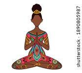 yoga girl. african american...   Shutterstock .eps vector #1890805987