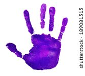 A Violet Handprint On A White...