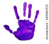 A Violet Handprint On A White...