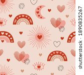 seamless pattern with love boho ...   Shutterstock .eps vector #1890835267