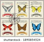 set of old postage stamps with... | Shutterstock .eps vector #1890854524
